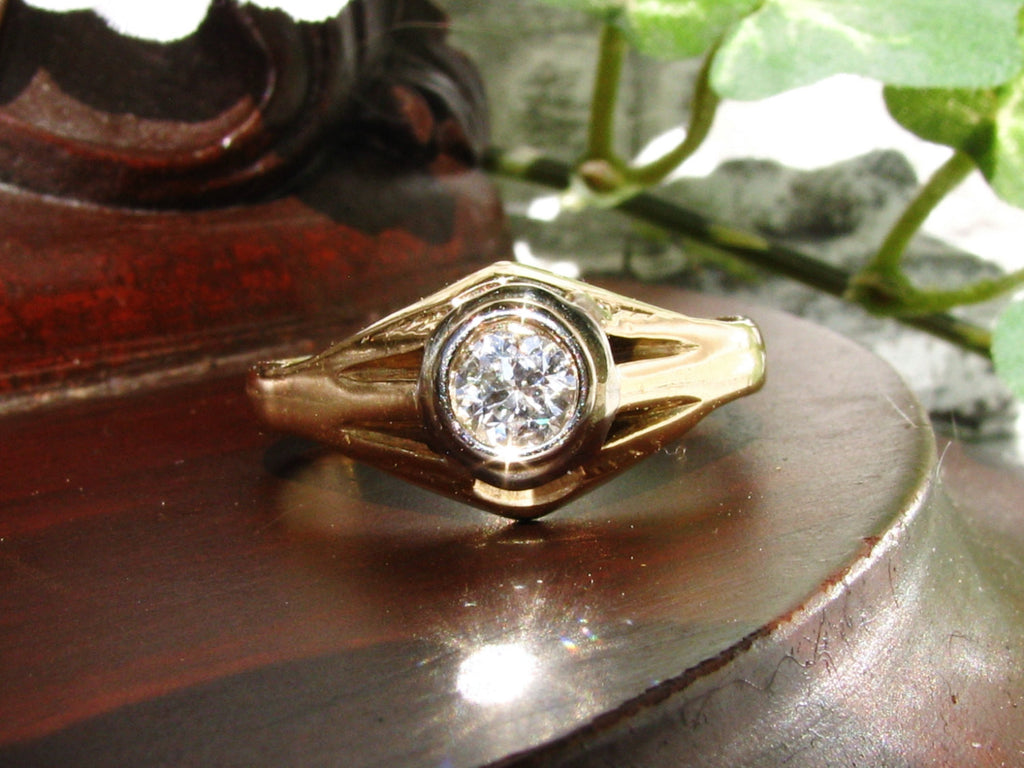 Unisex Art Deco Ring Men's Diamond Wedding Ring 0.50ct Bezel Set European Cut Diamond Art Deco Engagement Ring 14K Two Tone Gold Size 10