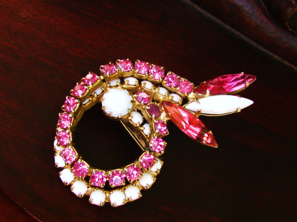 Vintage Pink Rhinestone Milk Glass Brooch Pink & White Swirl Design Brooch Unique Bridal Bouquet Wedding Brooch!