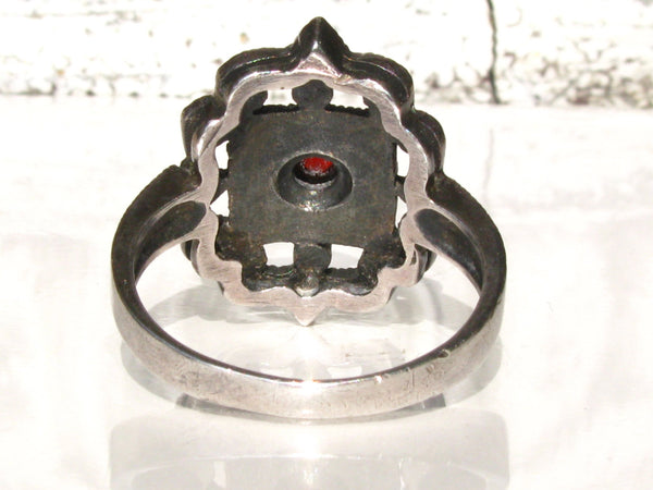 Vintage Sterling Marcasite Garnet Ring Art Deco Style Engagement Ring Scalloped Edge Filigree Ring January Birthstone Marcasite Wedding Ring