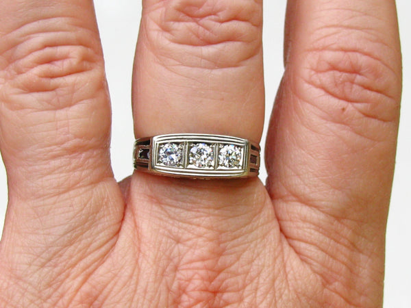 Antique Engagement Ring 0.60ctw European Cut Diamond Sapphire Wedding Ring 14K White Gold Filigree Art Deco Men's Diamond Ring & Appraisal!