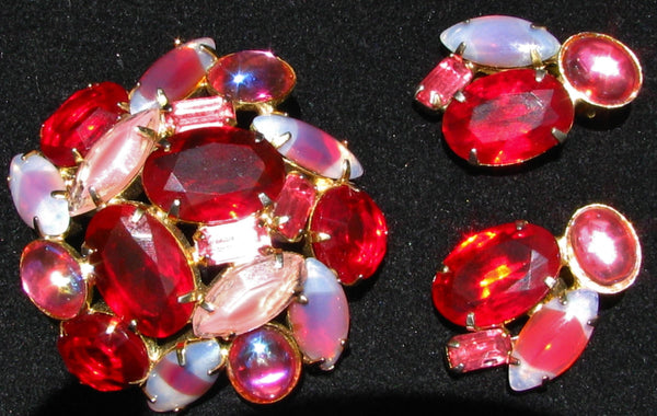 Vintage Red Dragons Breath Rhinestone Brooch & Clip On Earrings Set Red and Pink Rhinestone Wedding Jewelry Demi Set!