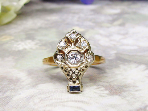 Antique Engagement Ring Old European Cut Diamond & Sapphire Unique Flower Basket Ring 14K Gold Filigree Diamond Wedding Ring Size 6.5!