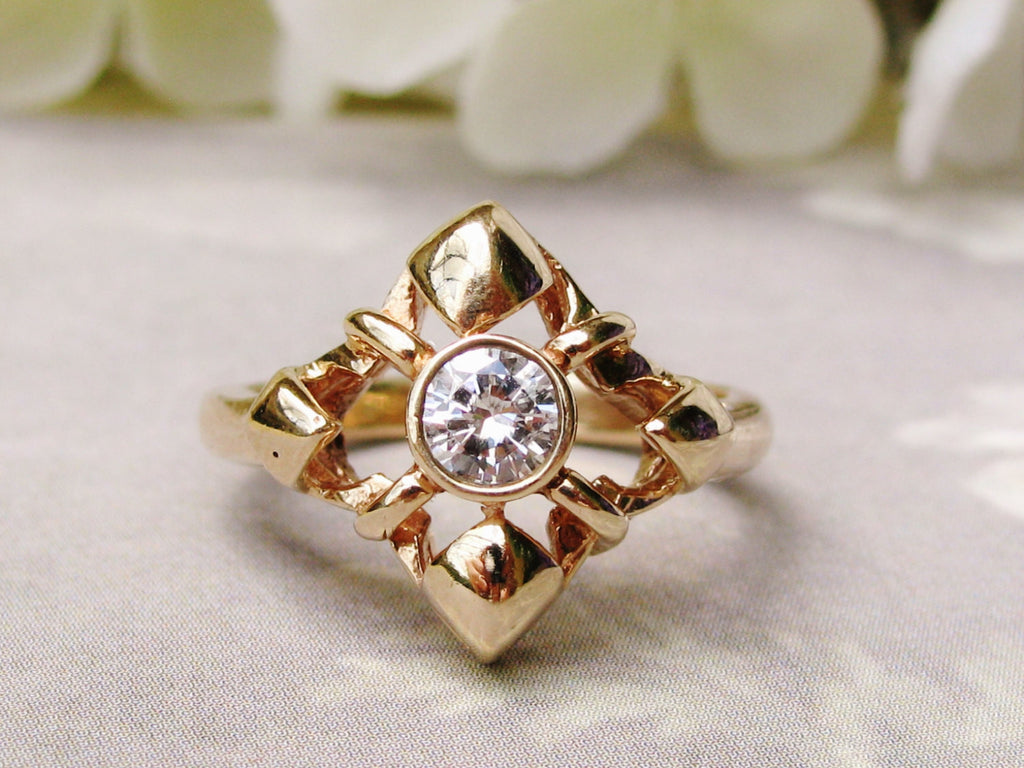 Unique Vintage Engagement Ring 0.40ct Bezel Set Diamond Star Ring 14K Yellow Gold Diamond Wedding Ring Size 7!