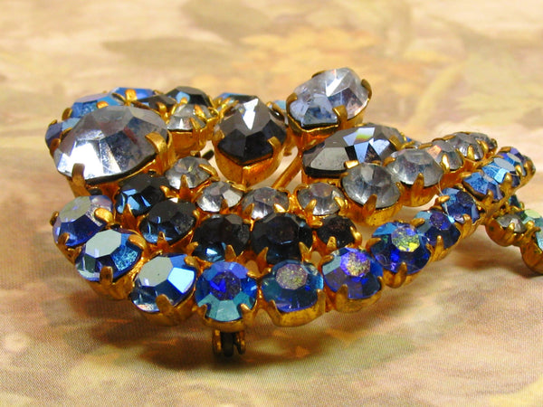 Vintage Heart Shaped Blue Rhinestone Brooch Made in Austria Aurora Borealis Rhinestone Wedding Bouquet Brooch Heart Pin Bridal Jewelry!