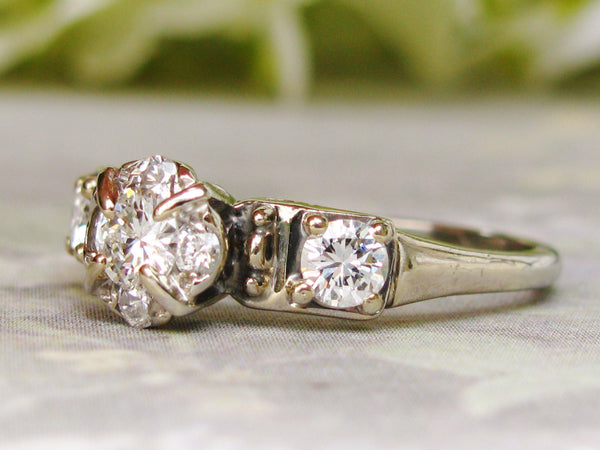 Vintage Engagement Ring Halo Design 0.74ctw Diamond Wedding Ring 14K White Gold Vintage Diamond Ring Size 8 Certified Appraisal!