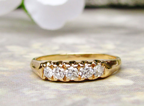 Vintage Diamond Wedding Band 0.50ctw Ladies Diamond Wedding Ring 14K Yellow Gold Diamond Anniversary Ring Five Stone Diamond Band Size 6.5