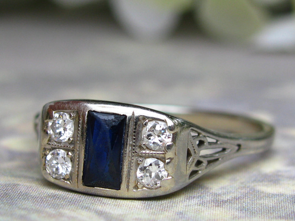 band white engagement pear stones side hand pin and sapphire wedding marquise blue diamond gold ring engraved rings