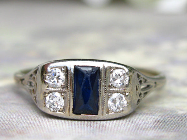 Art Deco Engagement Ring Antique Sapphire & Diamond Wedding Ring 18K White Gold Filigree Unique Antique Engagement Ring!