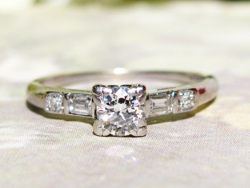 Platinum Antique Engagement Ring Old European Cut Diamond Art Deco Engagement Ring Fishtail Prongs 0.46ctw Diamond Wedding Ring Size 6.5!