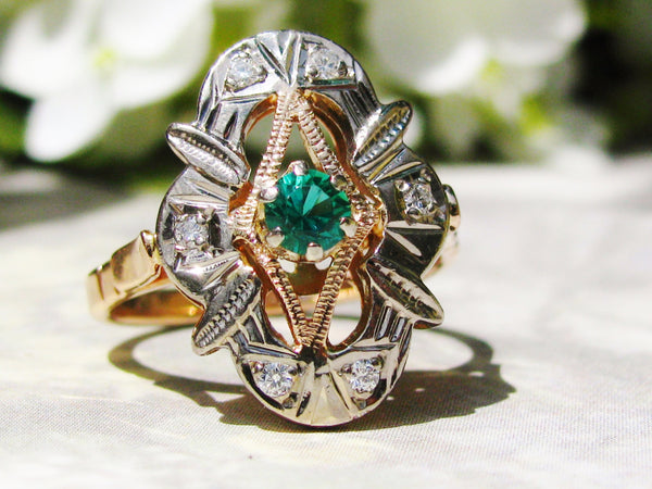 Unique Russian Vintage Engagement Ring 585 Rose Gold Ring Diamond Navette Ring Simulated Emerald Two Tone Gold Vintage Diamond Wedding Ring!