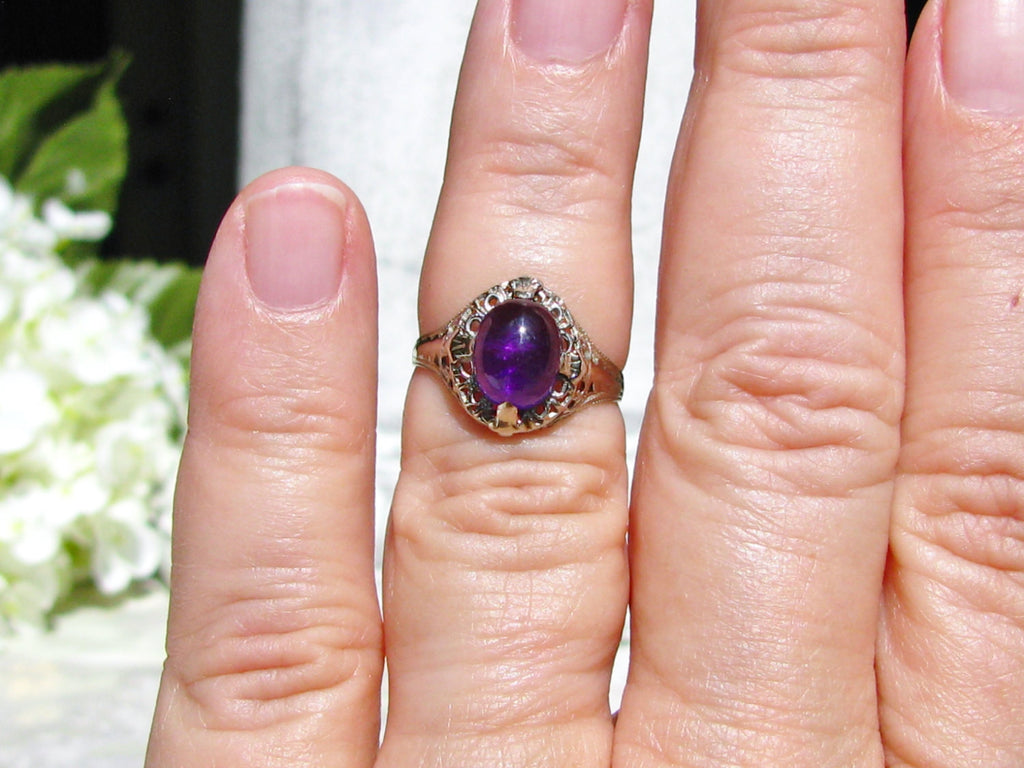 Cabochon Amethyst Art Deco Engagement Ring 14K White Gold Filigree ...