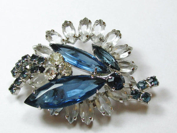 Vintage Blue Rhinestone Brooch Juliana Style Vintage Pin Something Blue Bridal Jewelry Wedding Bouquet Brooch!