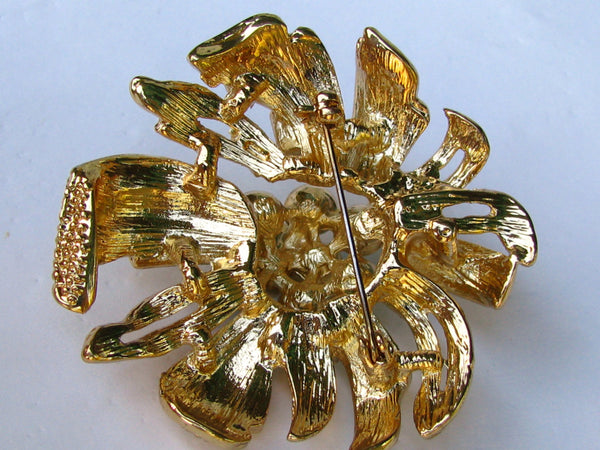 Vintage Faux Turquoise Starburst Brooch Clear Rhinestone Figural Pin/Pendant Something Blue Wedding Bouquet Brooch!