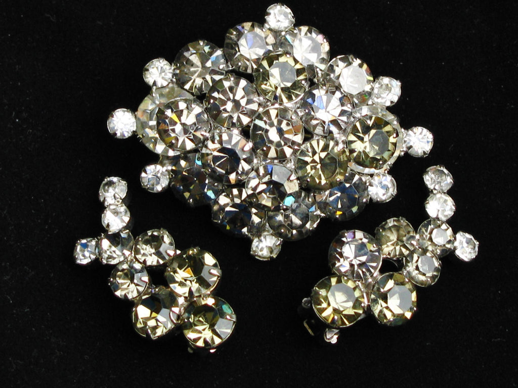 Juliana Smokey Gray Rhinestone Brooch & Earrings Demi Parure Set Aurora Borealis Rhinestone Bridal Jewelry Set Wedding Bouquet Brooch!