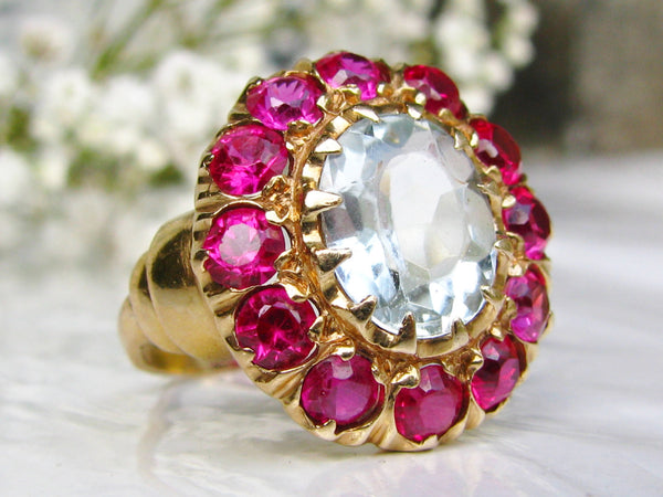 Vintage Aquamarine Engagement Ring Ruby & Spinel Alternative Engagement Ring 14K Yellow Gold Custom Hand Made 3.85ct Aqua Wedding Ring!
