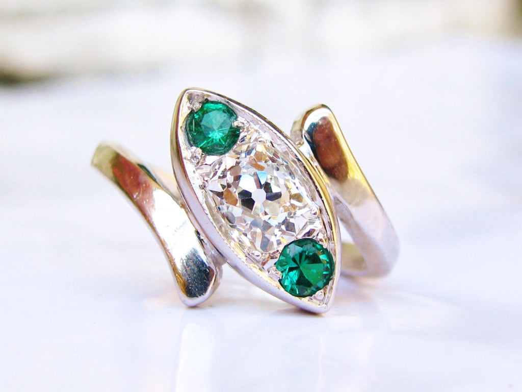 Antique Engagement Ring 0.35ct Old Mine Cut Diamond Trilogy Bypass Ring 14K White Gold Emerald Colored Stones Art Deco Diamond Wedding Ring!