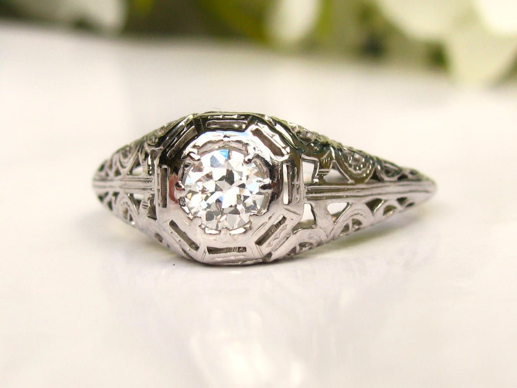 Antique Engagement Ring 0 40ct Old European Cut Diamond