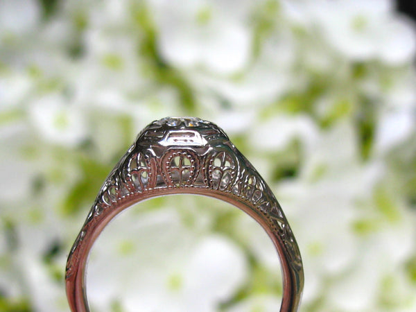 Antique Engagement Ring 0.40ct Old European Cut Diamond Art Deco Engagement Ring 14K White Gold Diamond Wedding Ring Art Deco Filigree Ring!