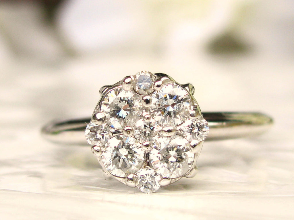 ring the daisy antique diamond edwardian jewellery engagement company cluster rings shop