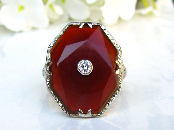 Unique Antique Carnelian Engagement Ring European Cut Diamond Art Deco Engagement Ring 18K White Gold Filigree Diamond Wedding Ring Size 7!