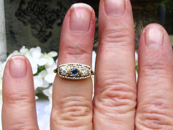 Antique Three Stone Art Deco Engagement Ring 14K Two Tone Gold Filigree Ring Antique Sapphire & Diamond Wedding Band Size 4!