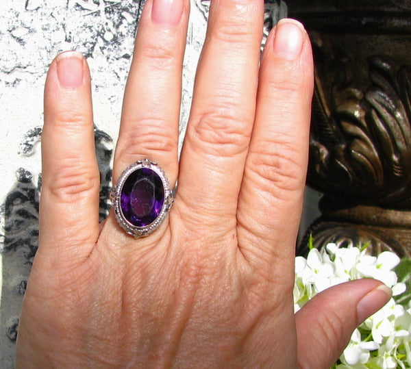 Vintage Engagement Ring 14.96ct Faux Amethyst & Pearl Ring Antique Style Engagement Wedding Ring 14K White Gold Floral Filigree Ring Size 6!