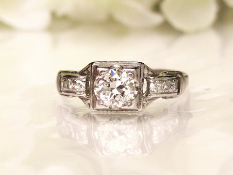 Platinum Antique Engagement Ring 0.55ctw H/VVS European Cut Diamond Wedding Ring Art Deco Engagement Ring with Appraisal Size 5!