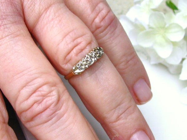 Antique Diamond Wedding Band 14K Two Tone Gold Decorative Petite Diamond Wedding Ring Ladies Wedding Band Size 6