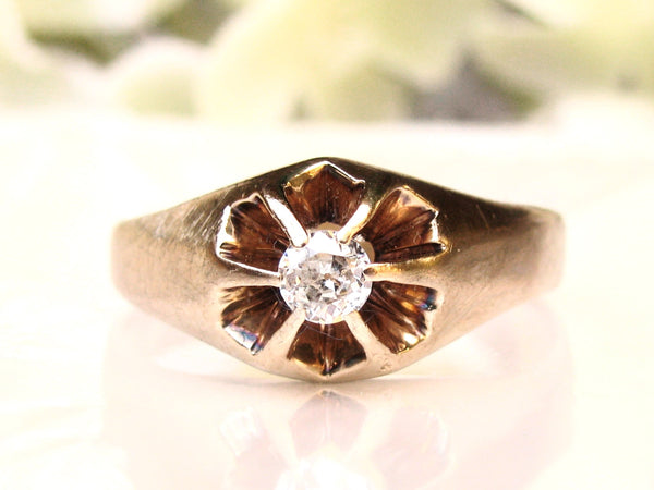 Antique Engagement Ring 0.25ct European Cut Diamond Antique Belcher Ring 14K Gold Unisex Diamond Wedding Ring Men's Diamond Ring Size 10