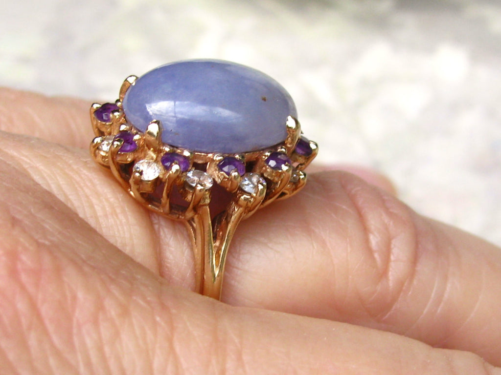 Vintage Lavender Jadeite Amethyst & Diamond Ring 14k Yellow Gold Unique  Lady Di Style Alternative Engagement