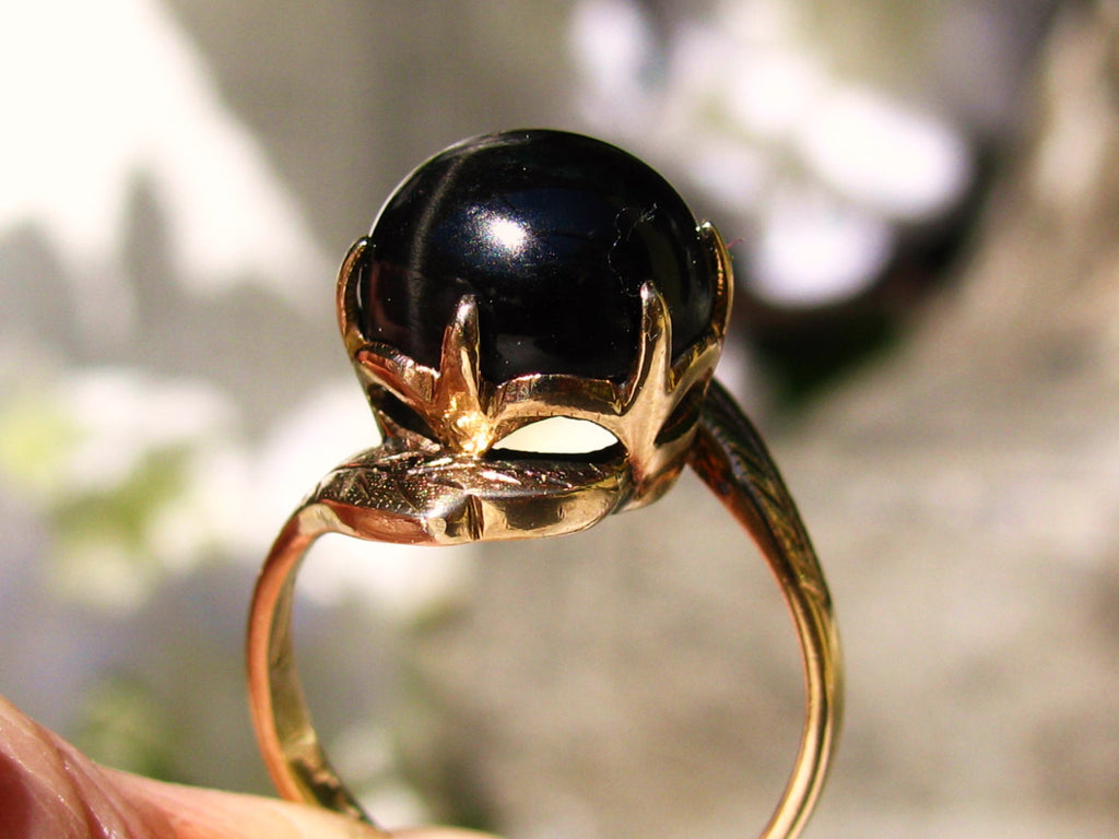 Antique 4.91ct Black Star Diopside Ring 14K Yellow Gold Crown Setting Art Deco Ring Unique Engagement Ring Size 6!