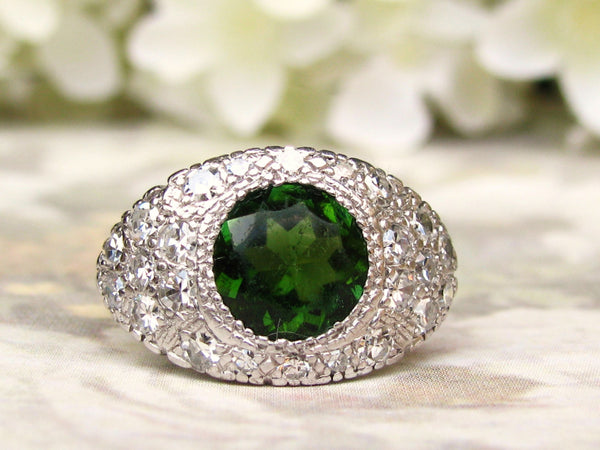 Vintage Engagement Ring Green Tourmaline Alternative Engagement Ring Diamond Cocktail Ring 14K White Gold 0.75ctw Diamond Wedding Ring!