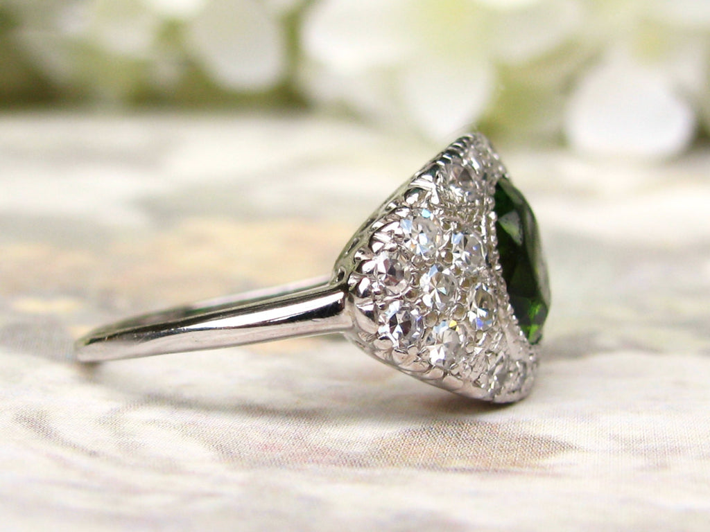 rings diamond ring green tourmaline platinum engagement