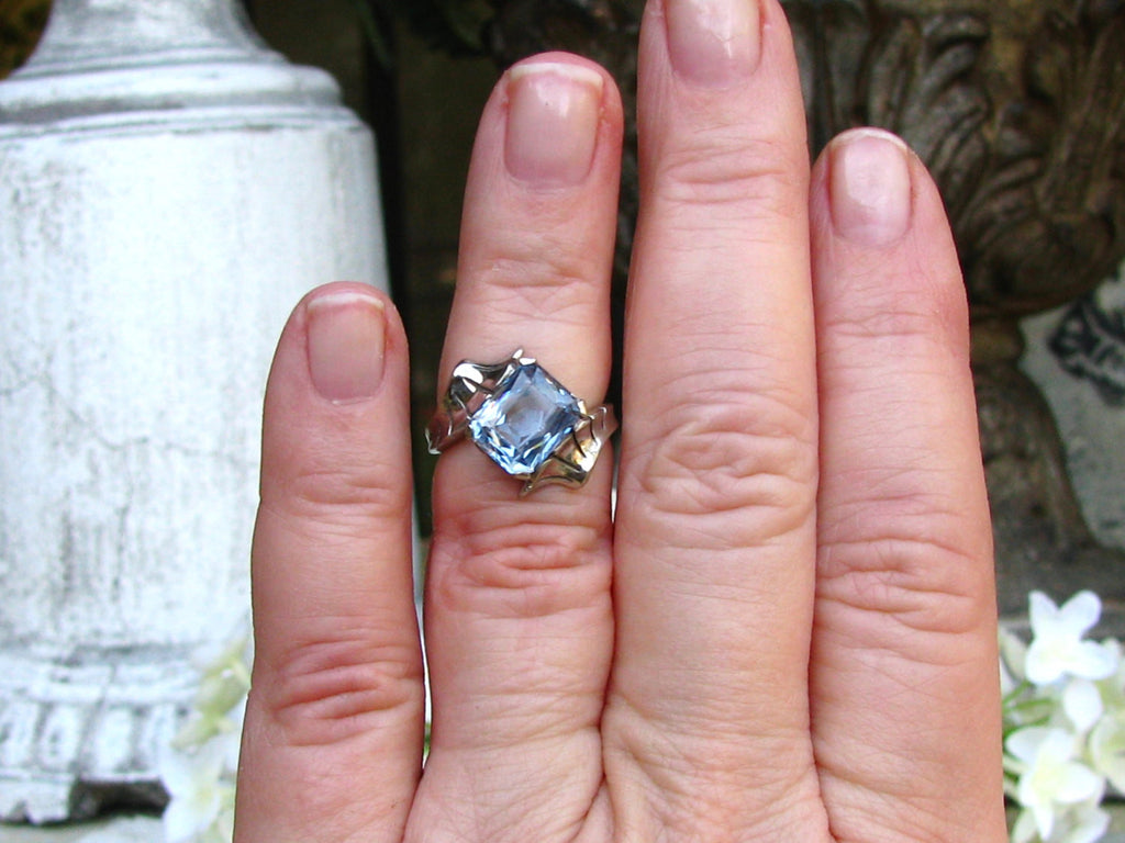 Vintage Engagement Ring 3.79ct Synthetic Blue Spinel Bypass Ring 10K ...