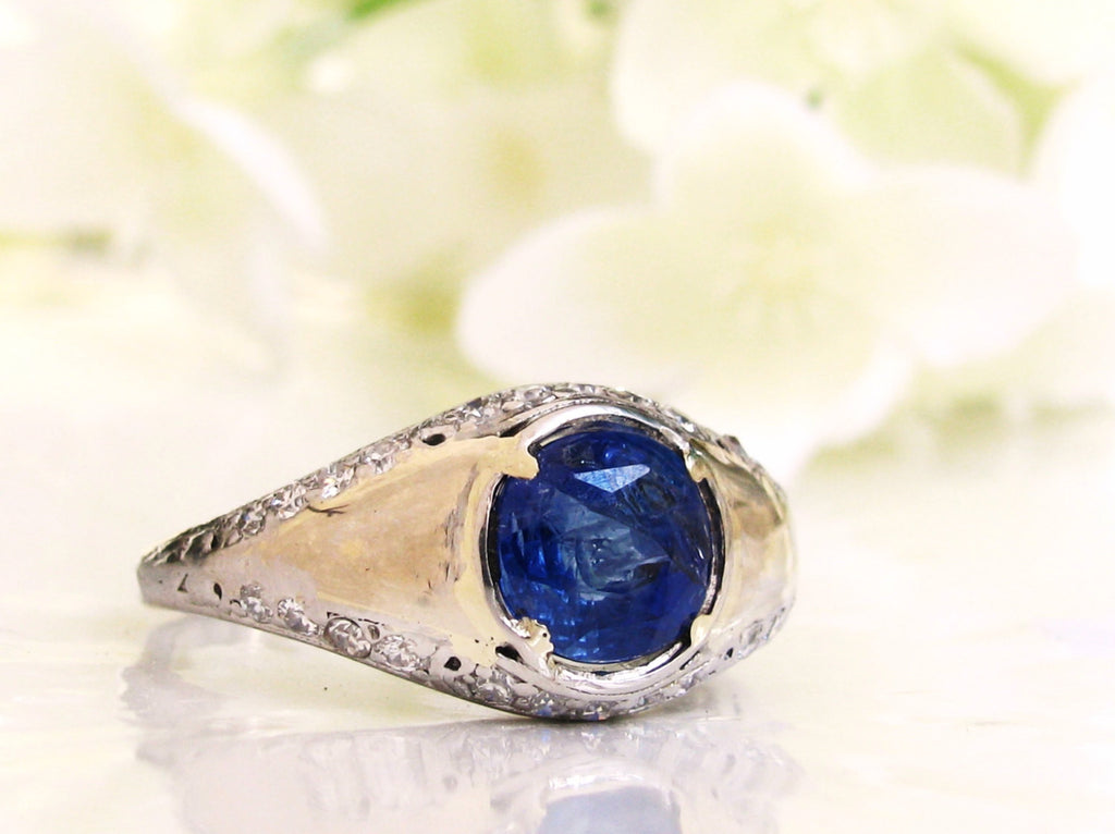 blue view ring gem final s jewelry cushion men gold front product cut mens kings custom sapphire white