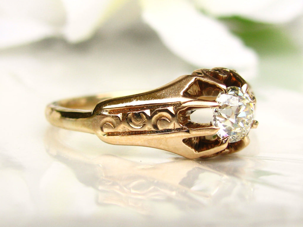 Antique Engagement Ring Belcher Buttercup Setting 0 33ct