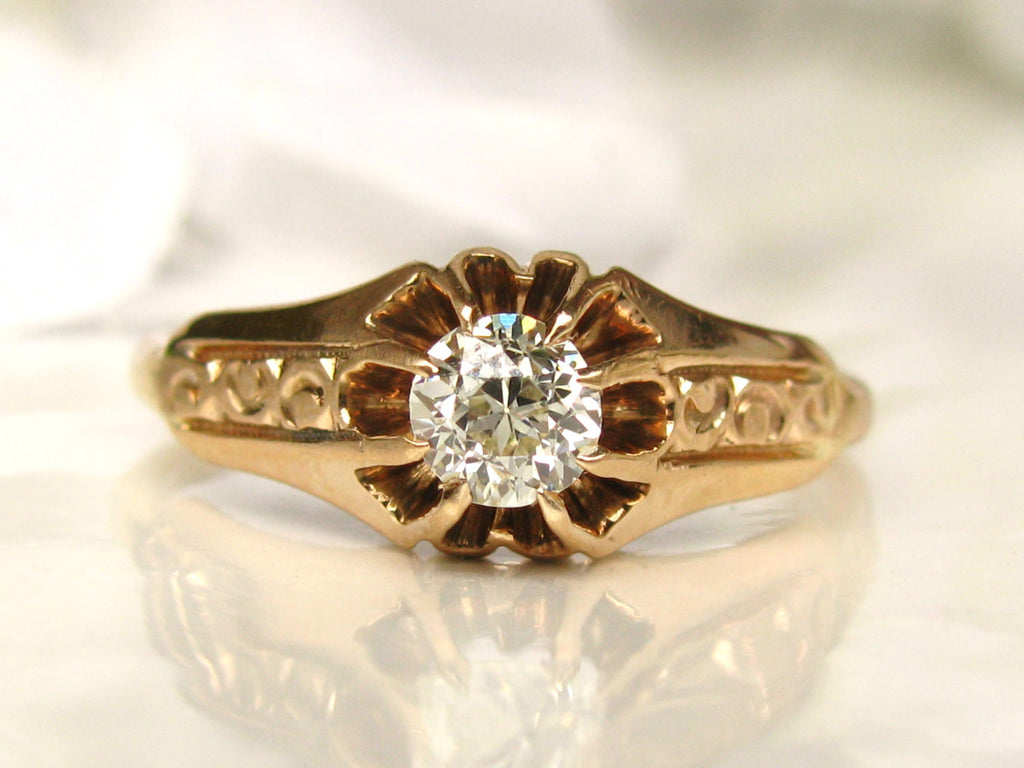 Antique Engagement Ring Belcher Buttercup Setting 033ct Old