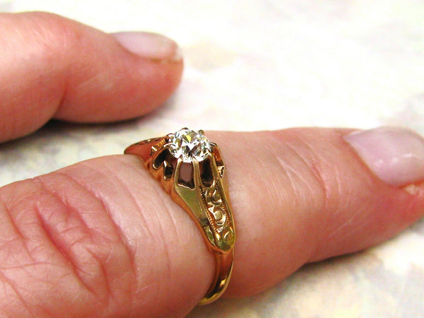 Antique Engagement Ring Belcher Buttercup Setting 0.33ct Old European Cut Diamond 14K Gold Antique Wedding Ring Size 6!