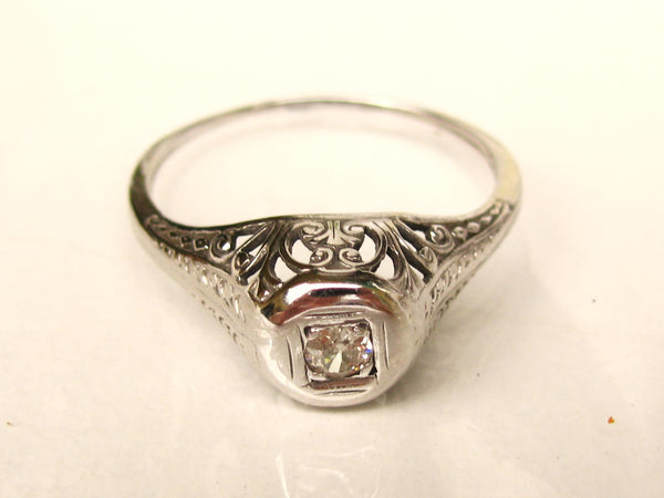 Antique Engagement Ring Petite Old European Cut Diamond 10K White Gold Filigree Art Deco Engagement Ring Diamond Wedding Ring Promise Ring!