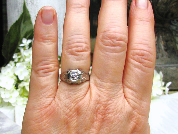 Art Deco Engagement Ring 0.44ct European Cut Diamond Antique Engagement Ring 18K White Gold Filigree Etching Diamond Wedding Ring Size 6.5!