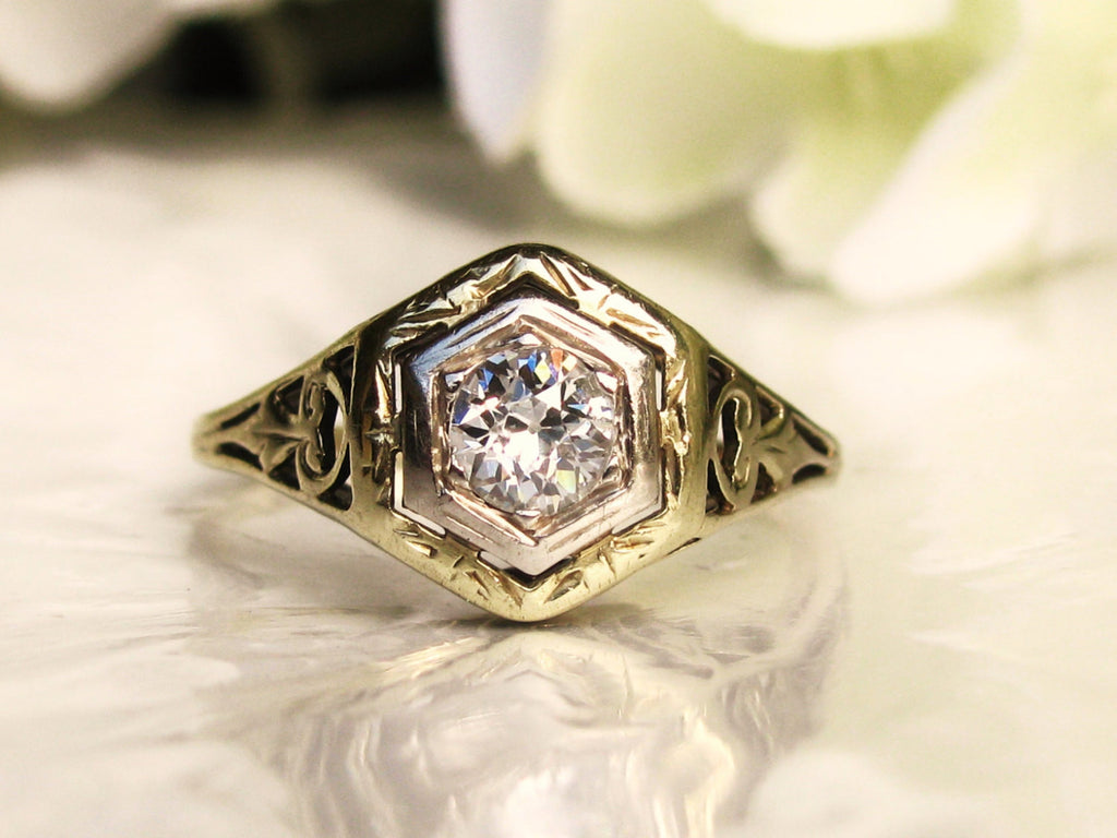Antique Art Deco Engagement Ring 0.33ct European Cut Diamond 14K Two Tone Gold Filigree Antique Diamond Wedding Ring Size 5!