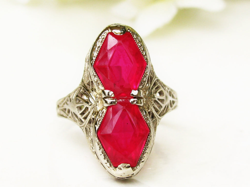 art deco engagement ring toi et moi ruby wedding ring 14k white gold filigree ring alternative - Ruby Wedding Ring