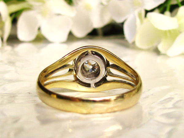 Art Deco Men's Diamond Ring 0.33ct Bezel Set Old Mine Cut Diamond Antique Unisex Wedding Ring 14K Two Tone Gold Engagement Ring Size 10.5!