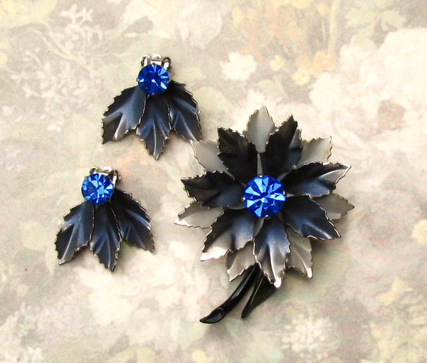Vintage Coro Cobalt Blue Rhinestone Demi Set Floral Figural Brooch & Earring Set Vintage Coro Jewelry Something Blue Bridal Bouquet Brooch