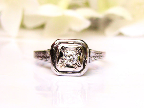 Antique Art Deco Engagement Ring Petite 0.15ct Old European Cut Diamond 14K White Gold Filigree Promise Ring Antique Diamond Wedding Ring!