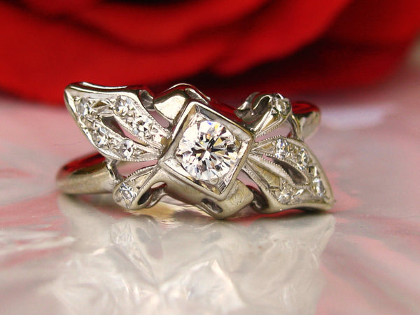 Unique Ribbon & Bow Vintage Engagement Ring 0.36ctw Diamond Cluster Wedding Ring 14K White Gold Anniversary Ring Bridal Jewelry
