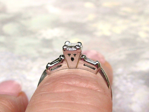 Vintage Engagement Ring 0.50ctw Emerald Cut Diamond Engagement Ring 14K White Gold Baguette Diamond Wedding Ring size 6!