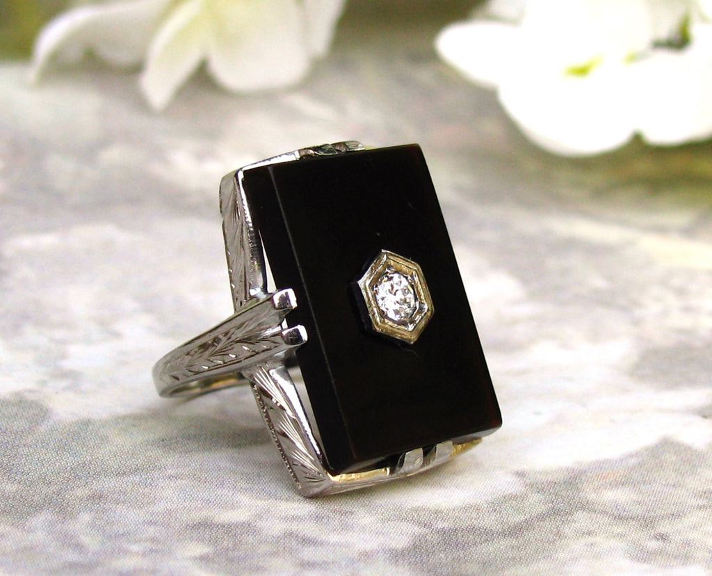 Antique Art Deco Engagement Ring Onyx and Diamond Ring 18K White Gold Etched Diamond Wedding Ring Belais Brothers Art Deco Ring!