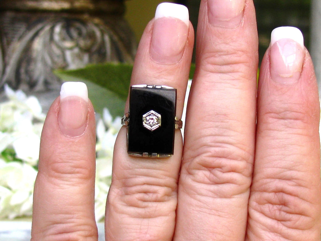 Antique Art Deco Engagement Ring Onyx and Diamond Ring 18K White ...