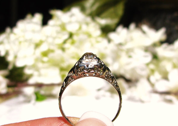 Antique Engagement Ring 0.42ct Old Mine Cut Diamond Edwardian/Art Deco Engagement Ring 18K White Gold Filigree Antique Wedding Ring Size 7!